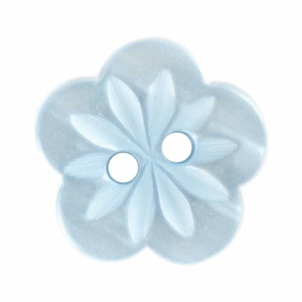 Button Flower 15mm Blue