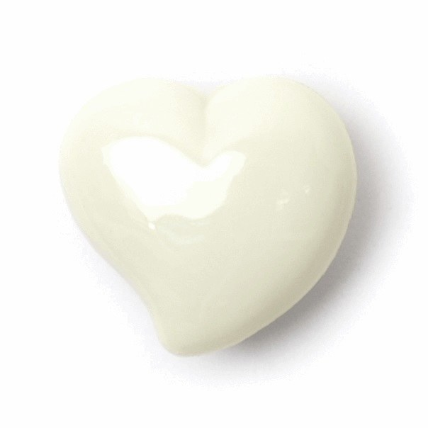 Button Heart 15mm Cream d