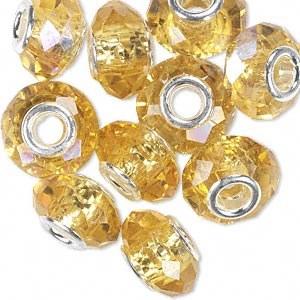 Bead Crystal Gold AB 15x8