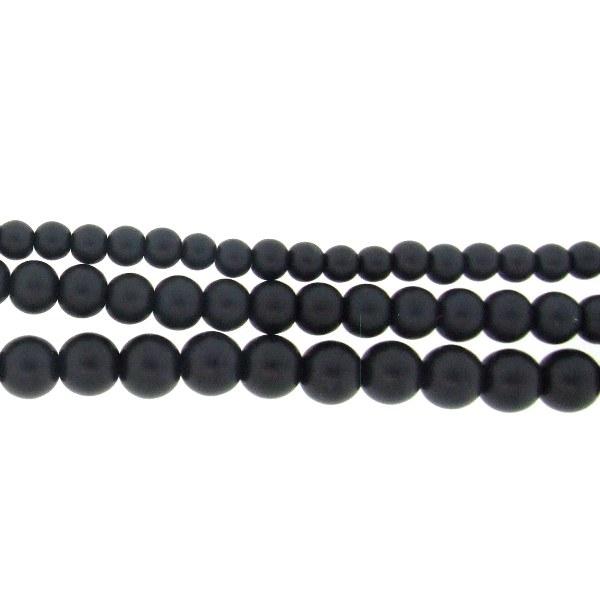 6mm Glass Pearls Matt Black