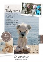 Crochet Kit Teddy & Rattle W/B
