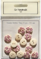 Button - GH Wood Daisy Pin15mm