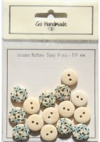 Button - GH Wood Daisy Gre15mm