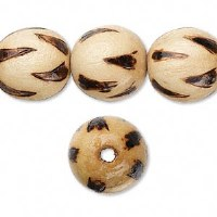 Bead wood burnt 16mm round