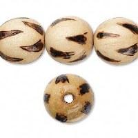 Bead wood burnt 16mm round
