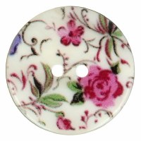 Button - Flower Print 15mm