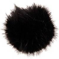 Rico Fake Fur Pompom 13cm Blac