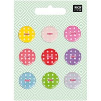 Rico Buttons 9-pack 18mm dots