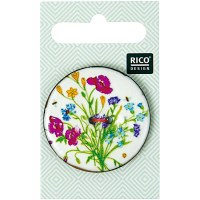 Rico Button 40mm Floral white