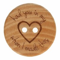 "Button Wood ""In my heart"" 25mm"