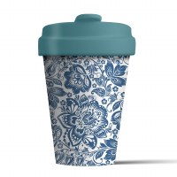 Bamboo Cup Blue Flowers
