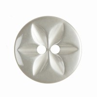 Button Round Star 16mm Cream