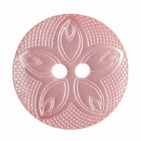 Button Etched Flower 18mm Pink