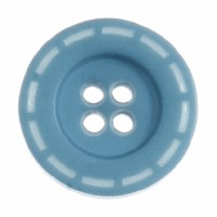 Button Stitched 18mm Aqua Blue
