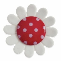 Button - Daisy Red