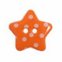 Button Spotty Star 18mm Orange