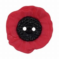Button Red Poppy 20mm