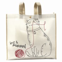 Reuseable Tote Knit & Purl Cat