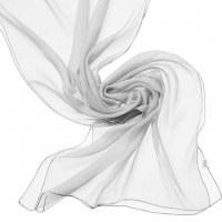 Chiffon Silk Shawl 180x55cm Wh