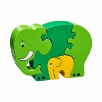 LK Jigsaw Green Elephant & Bab