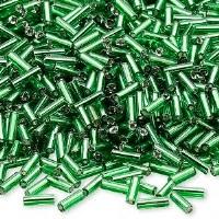 "Beads bugle emerald green 1/4"""