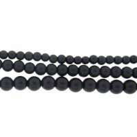 6mm Glass Pearls Matt Black