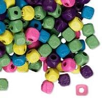 Mix cube wood bead 5x5