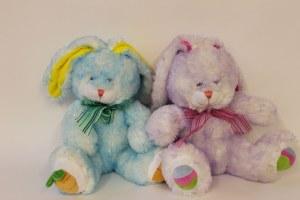 Blue or purple, girl or boy soft toy rabbit