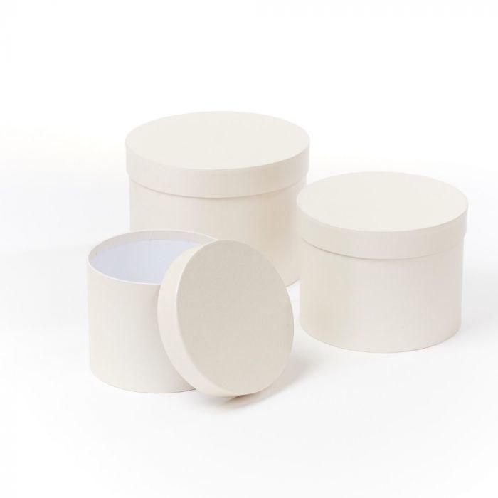 Florist Hat Boxes Ivory/ Light Cream x 3
