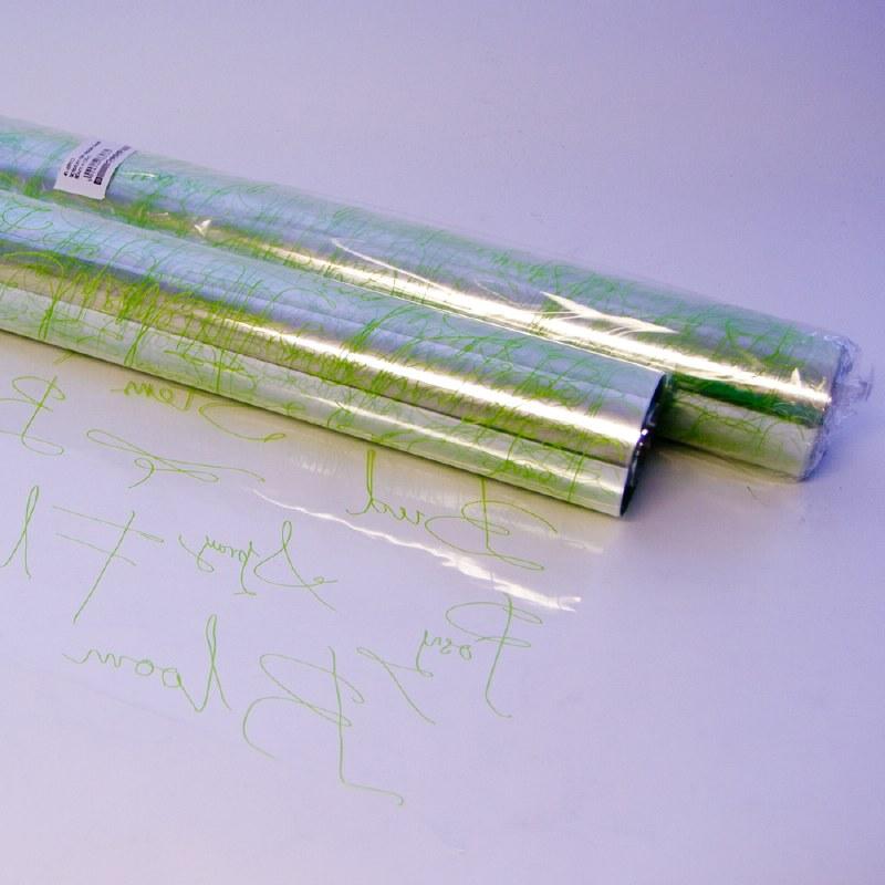Apple green scriptum florist cellophane wrap