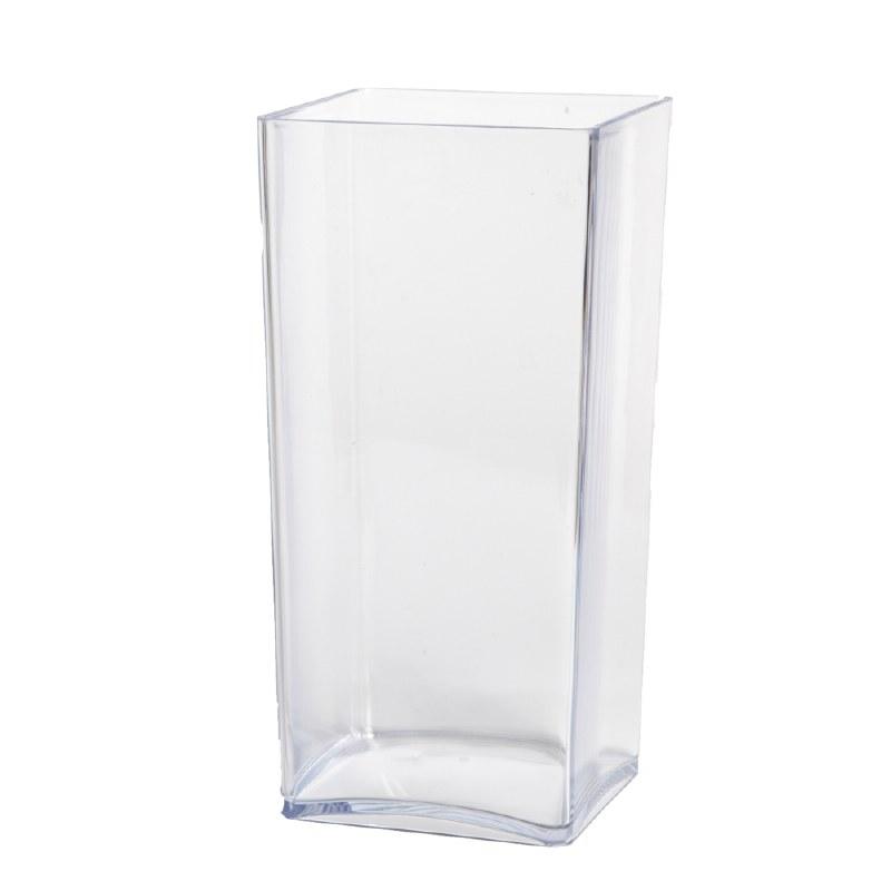 25cm clear designer cube florist vase