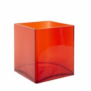 Designer cube acrlic red 15cm