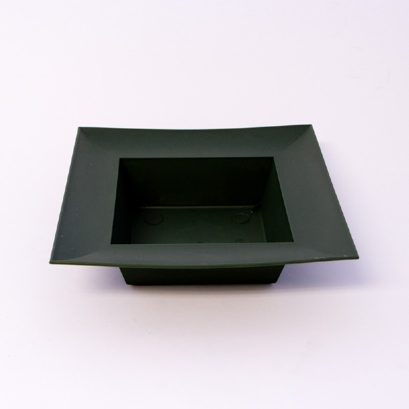 Dark green square plastic designer bowl