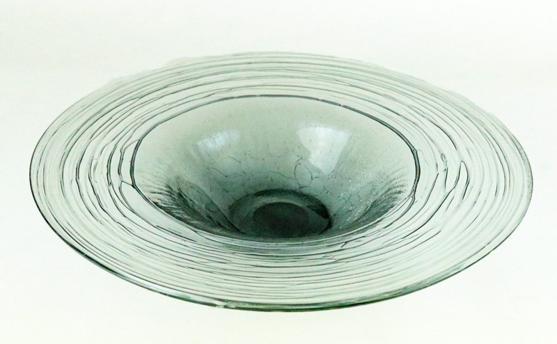 Hand Blown Glass Plate Clear/ grey 27.5cm