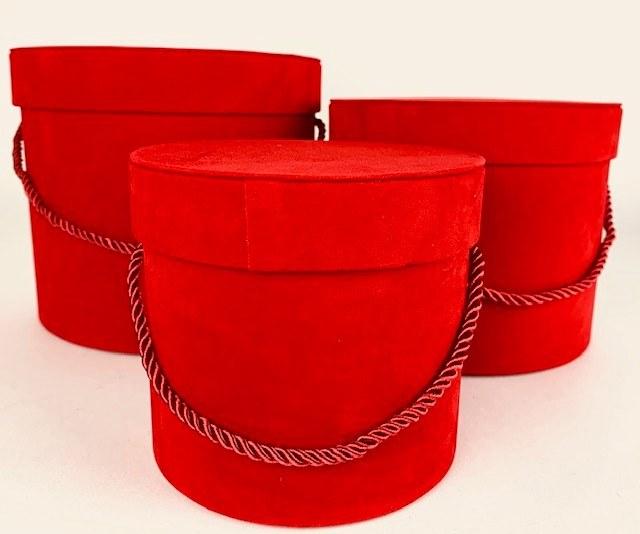 Velvet Hat Box x 3 Red