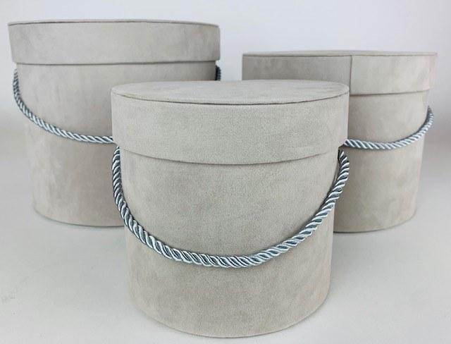 Velvet Hat Box x 3 Grey