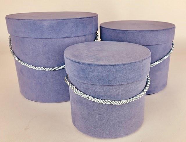 Velvet Hat Box x 3 Lavender