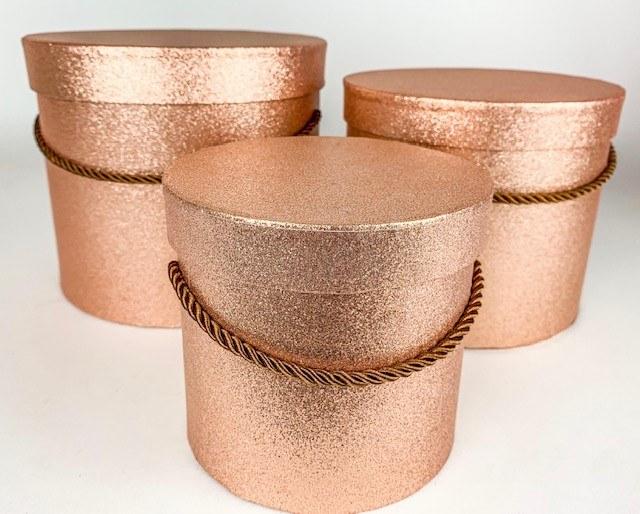 Rose Gold/ Copper Glitter Hat Boxes x 3