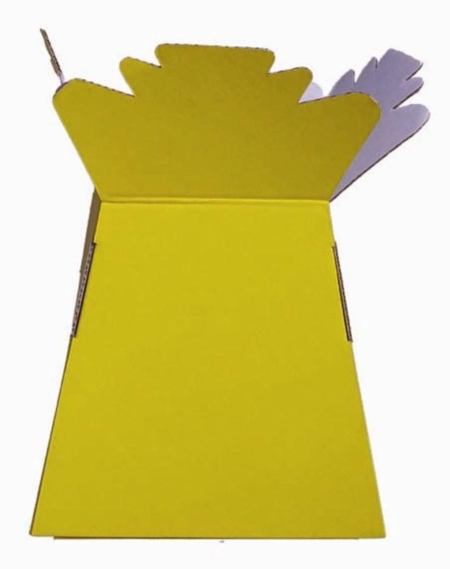 Box of 30 bright yellow living florist vases, height- 25cm