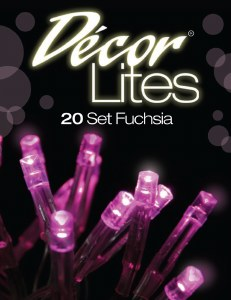 20 battery LED set fuchsia decor lights