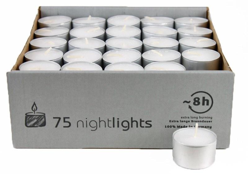 75 tea light long burning candles