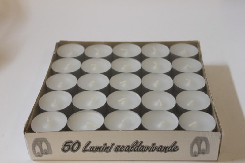 50 white small long burning tealights