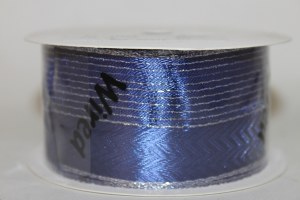 Gold and silver wired edge navy ribbon 40mm x 3m