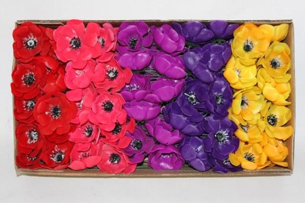 100 x Anemone assorted Christmas florist picks