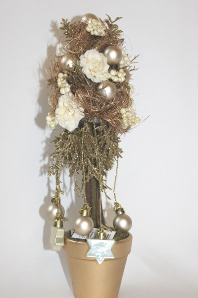 Artificial gold Christmas tree in pot-37cm