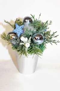 Christmas pot table decoration blue