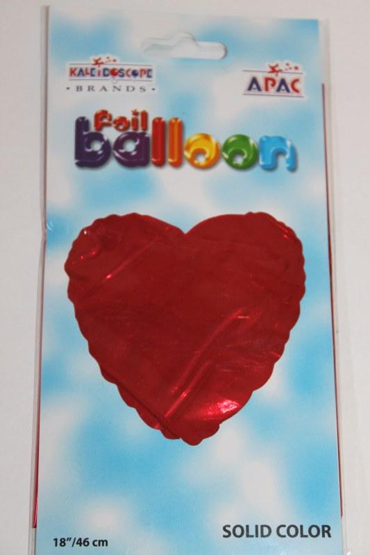 Red heart foil balloon 18in