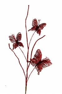 Glitter butterfly x 3 red
