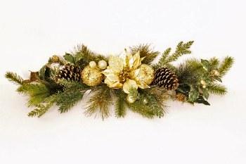 Gold poinsettia Christmas swag