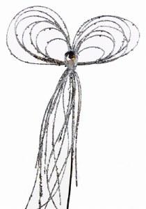 "Silver glitter Christmas bow on stem 12"""